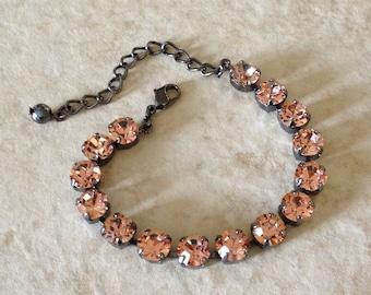 Swarovski peach crystal bracelet, rhinestone bracelet, gun metal, bridesmaid gift,