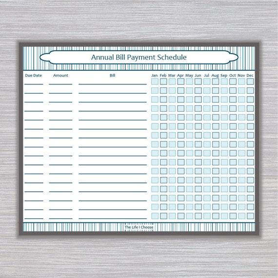 bill payment tracker printable bill payment checklist