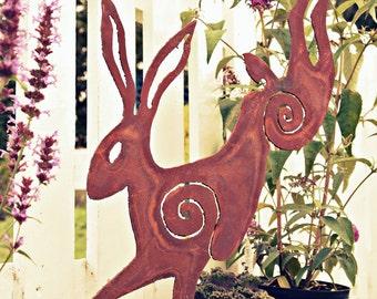 Leaping Hare plasma cut rusty
