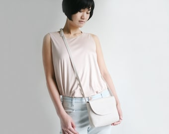 Minimalistic Crossbody Bag Beige Structured Suede Leather, small satchel bag, small handbag, leather purse, bridal bag