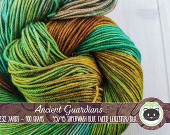 Green Hand Dyed Yarn, DK Weight Yarn, Thick Yarn, Crochet Yarn, Blue Faced Leicester, Variegated Yarn, BFL, Heirloom Loft, Ancient Guardians