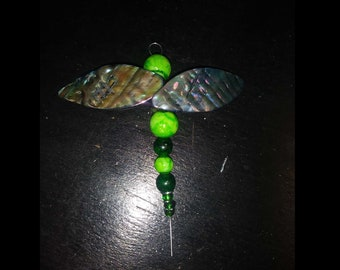 Hand Crafted Green Dragonfly (jeweled, beaded)