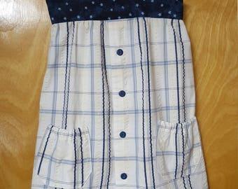 Girls Sundress/ Blue Plaid/ Repurposed/ Up-cycled/ Men's shirt/ Size 4 girls