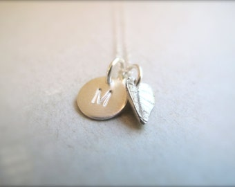 Personalized Initial Charms and leaf charm Necklace