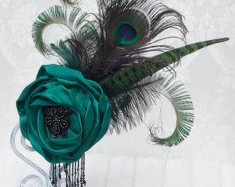 Fascinator   Emerald Elegance   Gothic Headpiece, Hair Accessories , Wedding Hairpiece,  Steampunk, Victorian, Bridal Hair Piece