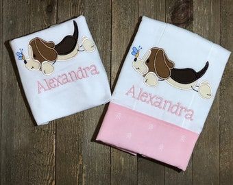 Beagle Personalized onesie® and burp cloth  // Embroidered // Dog // Baby Set Gift // Animal Lover // Pink Brown and Cream  // Dog Lover