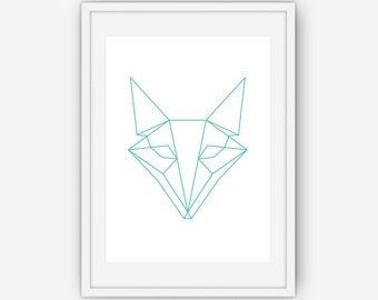 Teal Geometric Fox Print, Fox Art, Teal Fox Print, Geometric Art, Geometric Print, Teal Wall Art, Wall Art, Printable, Instant Download