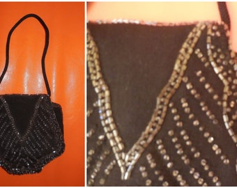Vintage 1920s 30s Purse Tiny Black Crepe Evening Purse Glass Beads Beading Flapper Charleston Art Deco German Abendtasche very small