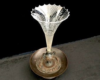 Victorian Bronze and Etched Glass Epergne, 19th Century Antique Epergne, 1800s Trumpet Flower Vase, BXD