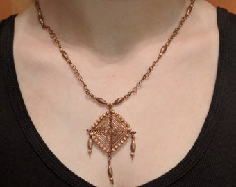 Copper Eye of God Wire Pendent & Handmade Chain - Native American