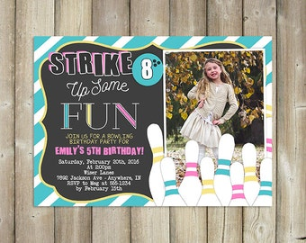 Bowling Birthday Invitation, Strike Up Some Fun Bday Invite, Custom Colors, For Boy or Girl Digital File