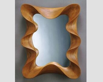Wall mirror - Cherry Taffy Mirror - a modern wall mirror in carved cherry
