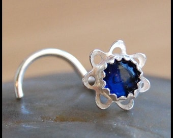 Flower Nose Stud - How Blue Can Blue Be...Sterling Silver and Sapphire  - CUSTOMIZE