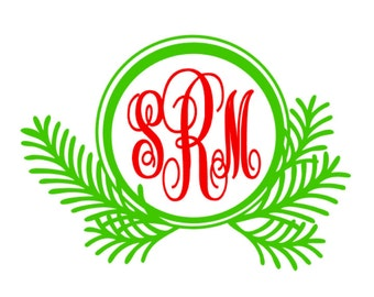 Custom Pine Branch Vinyl Decal, Christmas Monogram, Car Decal, Custom Holiday monogram vinyl decal sticker, personalized decal