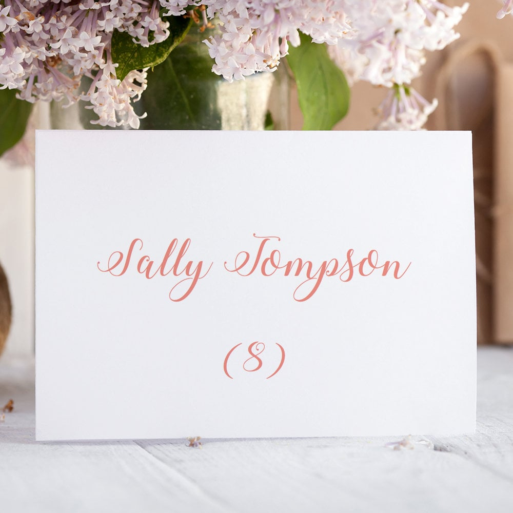 Coral Wedding Name Place Cards Printable Template Folded &