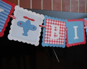 Airplane Happy Birthday Banner, Take Flight, Airplane Party, Airplane Birthday Party, Red, White and Blue