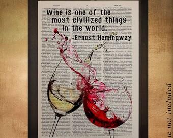 Wine Dictionary Art Print Glass Hemingway Quote Wine Decor Alcohol Bar Art Home Decor Wall Gift Ideas da1041