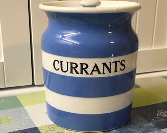 Vintage Cornishware Kitchen Storage Container-Currants c1930-1950s