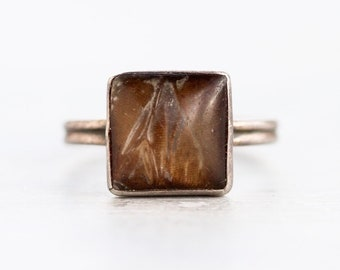 Butterfly wing Ring - Sterling Silver Antique Ring with Square Glass and Brown - Ring size 6.5 - Made in England - Vintage Oxidized Jewelry