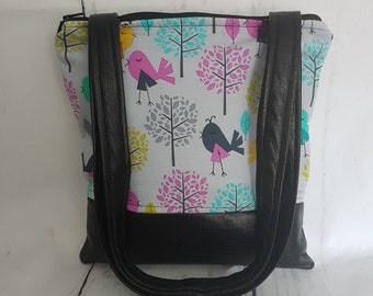 Colourful Birds with Black Faux Leather Handbag, Ready to Ship
