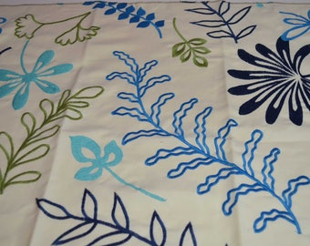 embroidered home decor fabric, embroidered home decor leaves, pillow fabric, embroidered fabric