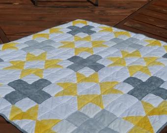 Modern handmade baby boy girl cotton crib quilt-grey yellow bamboo velour-baby quilt gray yellow-star quilt-plus quilt-baby bedding-minky