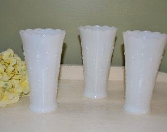 Vintage Milk Glass Vases Hobnail Vases Farmhouse