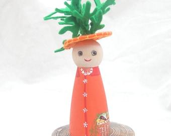 Wood Peg Doll Carrot Harvest Totem