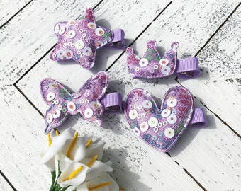 U pick purple hair bows for girls barrettes toddler hair clips baby barrettes non slip fully lined bow clips for kids