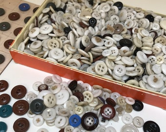 Box and Card of Vintage China and Glass Buttons