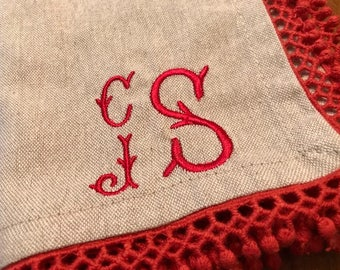 Set of four monogrammed cotton napkins with red crochet trim, Holiday napkins, Christmas napkins