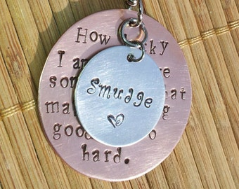 How Lucky I am To Have Something...  - personalised memorial tribute keychain winnie the pooh quote