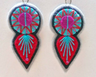 INDIE EARRINGS - Felt and hand embroidered textile earrings limited edition statement jewellery / jewelry burnt red turquoise fuschia summer