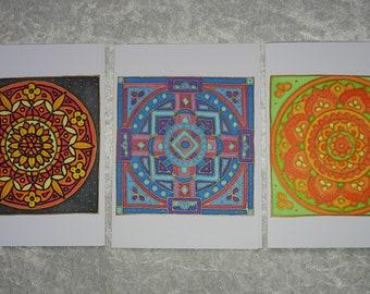 Set of 3 handpainted silk mandala cards