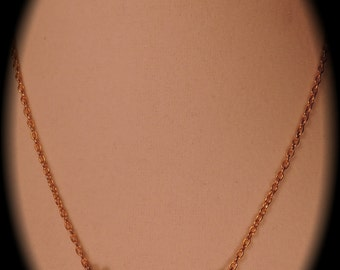 Gold Tone Necklace with 5 Tiny Clovers 1970-80