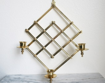 Vintage Brass Geometric Candle Holder Wall Decor, Modern Farmhouse, Farmhouse Decor, Rustic Home Decor, Mid-Century Modern, Wall Hanging