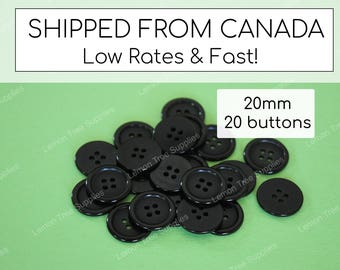 Black buttons, plastic buttons, bulk buttons, black buttons 20mm - pack of 20
