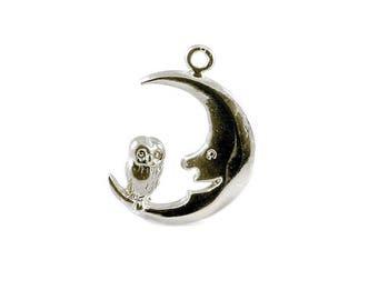Sterling Silver Owl & Moon Charm For Bracelets