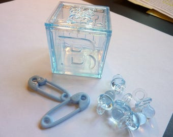 80 Floating Blue Baby Shower Pearls and Gems Vase Fillers - Jumbo/Assorted Sizes for Centerpieces