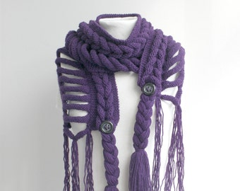 Purple Wool  Scarf Mothers day Gift under75 For Her For Women