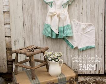 Robe en coton Vichy n des années 1940 les filles fenêtre volet + culotte - fait main - chasuble - robe d'été - culottes - Cottage Shabby campagne Chic