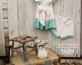 1940s Girls Window Pane n Gingham Cotton Dress + Bloomers  - Handmade - Pinafore - Sundress - Panties - Shabby Cottage Country Chic