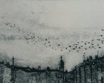 Original, hand printed collagraph, signed original print, Naunton Crescent