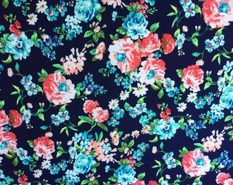 Brushed Poly Floral Print By The Yard 60'