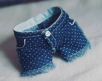 LIMITED BJD Navy dotted canvas shorts