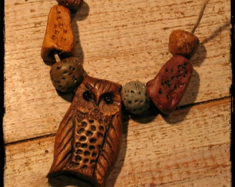 Owl necklace, ceramic owl necklace, cold porcelain, magic, faery, witchy, woodland, nature