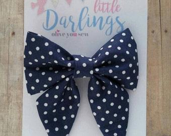 SALE! 30% OFF**Sailor Hair bow, Toddler hair bow, Baby hair bow, Teen hair bow, Girl Hair bow- Navy and white dots
