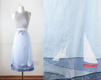 Sailboat Skirt, Wrap Around, Novelty Print Wrap Skirt, 70s Skirt, High Waist Skirt, MIDI Skirt, Retro Skirt, Blue Skirt, Modest Skirt