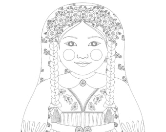 Swedish Girl Matryoshka Coloring Sheet Printable file