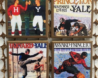 COASTERS! Ivy League vintage program cover coasters with gold trim. Harvard, Yale and Princeton